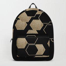 contemporary preppy scandinavian minimalist Black and gold hexagon Backpack