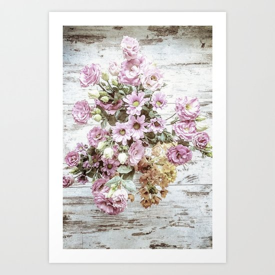 Chic Bouquet on Shabby Floor Art Print