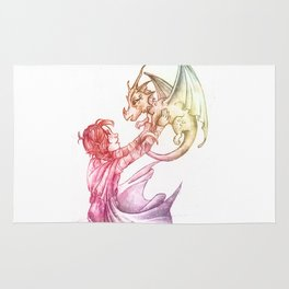 A Girl and Her Dragon Rug