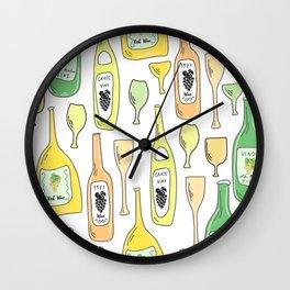 Light White. Wine proverb & pattern Wall Clock
