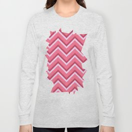 Pink Zig Zag Pattern Long Sleeve T-shirt