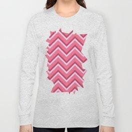 Pink Zig Zag Pattern Long Sleeve T-shirt