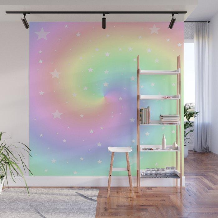 Rainbow Swirls and Stars Wall Mural