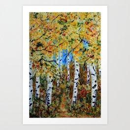 Birch Tree Forest, Impressionism Rustic Art Home decor Art Print