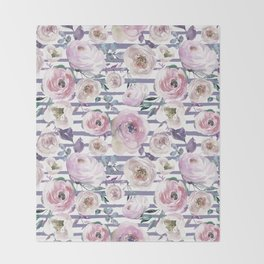 Violet blush pink lilac watercolor floral stripes Throw Blanket
