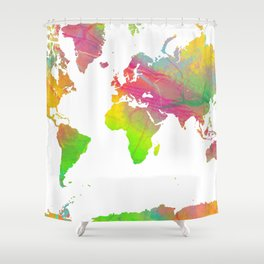 World Map - Watercolor 9 Shower Curtain