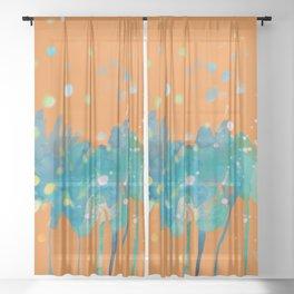 dp066-1 orange blue watercolor flowers Sheer Curtain