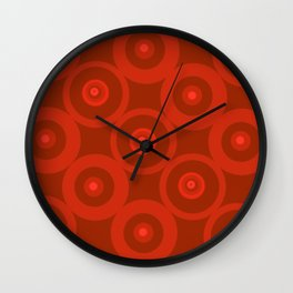 Circles In Red Wall Clock