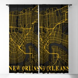 New Orleans Louisiana City Map | Gold American City Street Map | United States Cities Maps Blackout Curtain