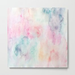 Chic Pink and Blue Watercolor Wash Metal Print