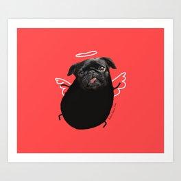 Black Angel Pug Art Print