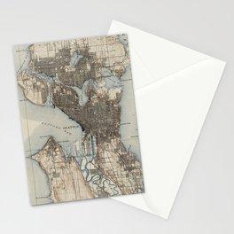 Vintage Map of Seattle Washington (1908) Stationery Cards