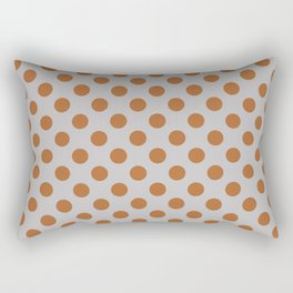 Large Polka Dots in Burnt Orange on Gray Rectangular Pillow