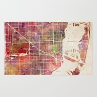 miami Area & Throw Rugs featuring Miami by MapMapMaps.Watercolors