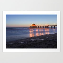 Manhattan Beach Pier Nighttime Mystical Photo Art Print