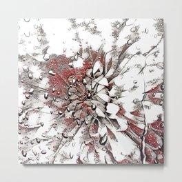 Waterdrop Flower  Grey Coral and White Sketch Metal Print