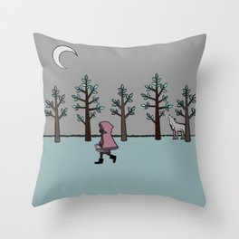 Red hood wolf food Throw Pillow