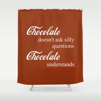chocolate Shower Curtains featuring Chocolate by DuniStudioDesign