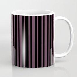 Eggplant Violet and Black Vertical Var Size Stripes Coffee Mug