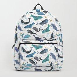 Blue Whales Watercolor Ocean Pattern Backpack
