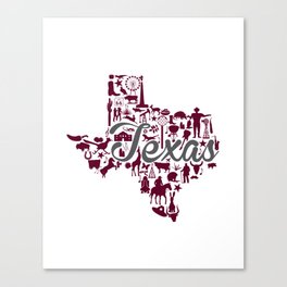 Texas A&M Landmark State - Maroon and Gray Texas A&M Theme Canvas Print