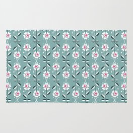 Retro . Floral pattern on a blue background . Rug