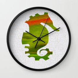 Colorful Art Seahorse Illustration Wall Clock