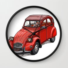 Red 2cv Wall Clock