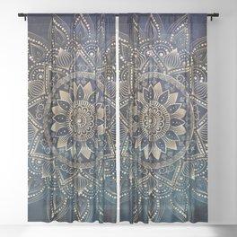 Elegant Gold Mandala Blue Galaxy Design Sheer Curtain