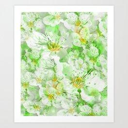 Light Floral Collage Art Print