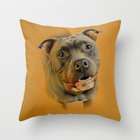 pit bull Throw Pillows featuring American pit bull terrier by Frederica Morgan