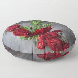Red, Red Ranunculus Floor Pillow
