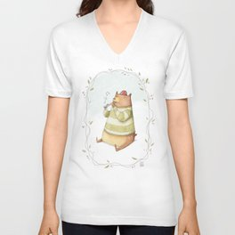Happy Bear Unisex V-Neck