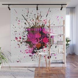 Electro Pink Black Brown Splat Wall Mural