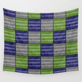 Tribal Patchwork in Navy, Lime and Gray Wall Tapestry