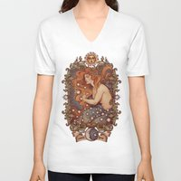 cosmic V-neck T-shirts featuring COSMIC LOVER color version by Medusa Dollmaker