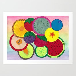 Fruity Circular Slices Art Print