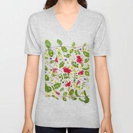 Leaves and flowers pattern (30) Unisex V-Neck