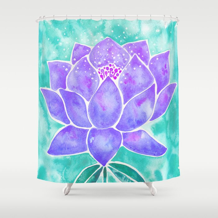Sacred Lotus Lavender Blossom On Mint Palette Shower Curtain By Catcoq