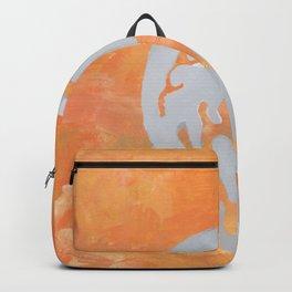 Heart/Dicentra stencil on orange Backpack