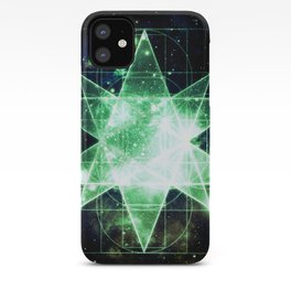 Sacred Geometry Green Midnight Blue Galaxy iPhone Case