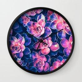 Colorful Succulent Plants Wall Clock