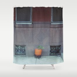an orange pot outside Shower Curtain