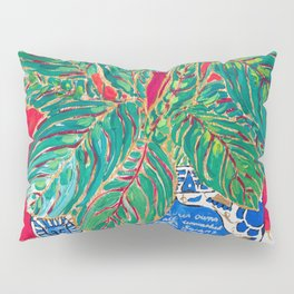 Prayer Plant in Blue-and-White Pot on Swan Table Cloth After Matisse Painting Pillow Sham