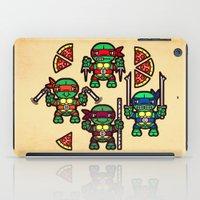 teenage mutant ninja turtles iPad Cases featuring Teenage Mutant Ninja Turtles Pizza Party by chobopop