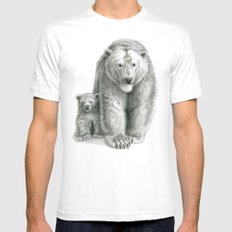 Polar bear and cub SK041 MEDIUM Mens Fitted Tee White