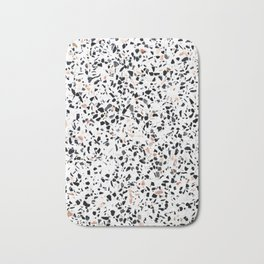 Terrazzo Stone Pattern Black and Orange Peach Bath Mat