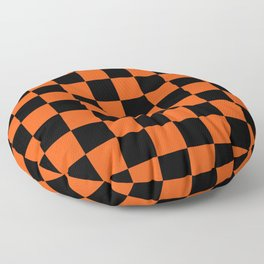 Black and Orange Checkerboard Pattern Floor Pillow