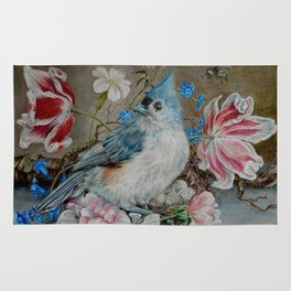 Blue Titmouse and Bee with floral still life Rug