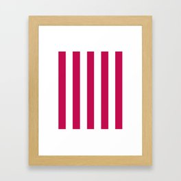 Pictorial carmine fuchsia - solid color - white vertical lines pattern Framed Art Print